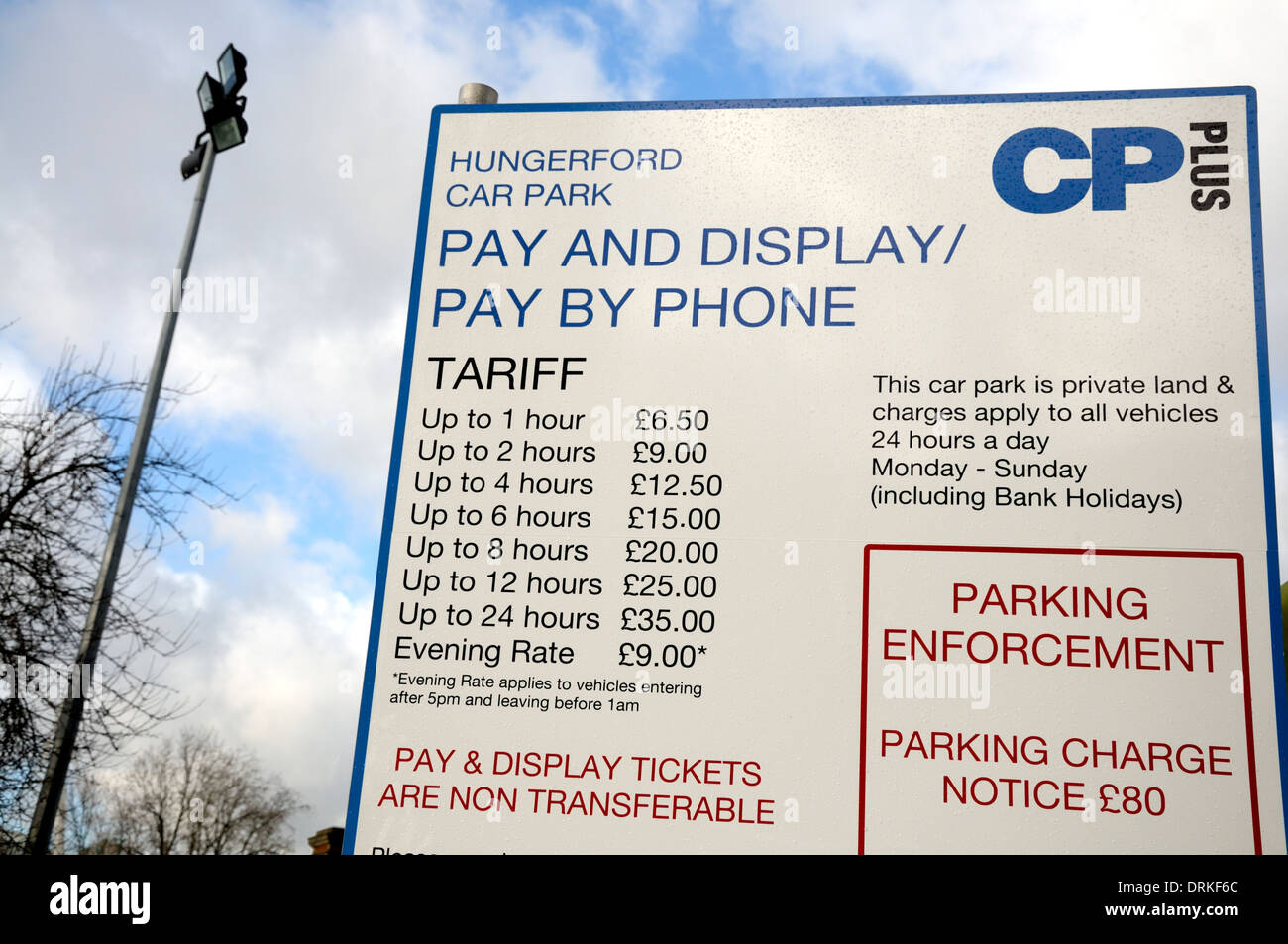 London, England, UK. Car parking charges at Hungerford Car Park on the South Bank - Stock Image