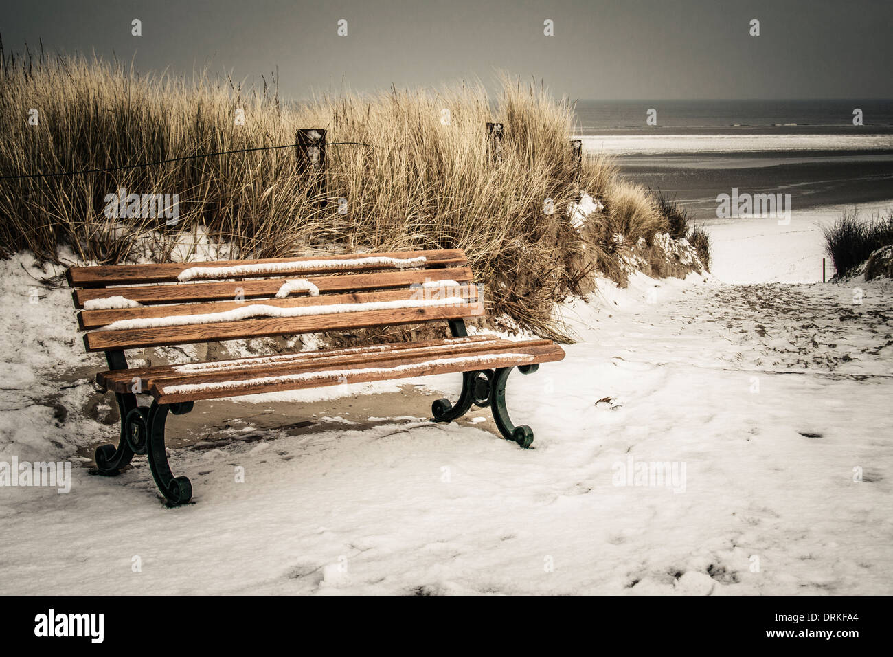 Germany, Lower Saxony, bench at the beach of Langeoog Stock Photo