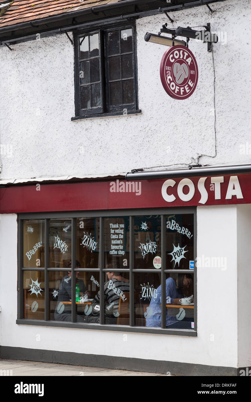 Costa Coffee shop front and signage - Stock Image