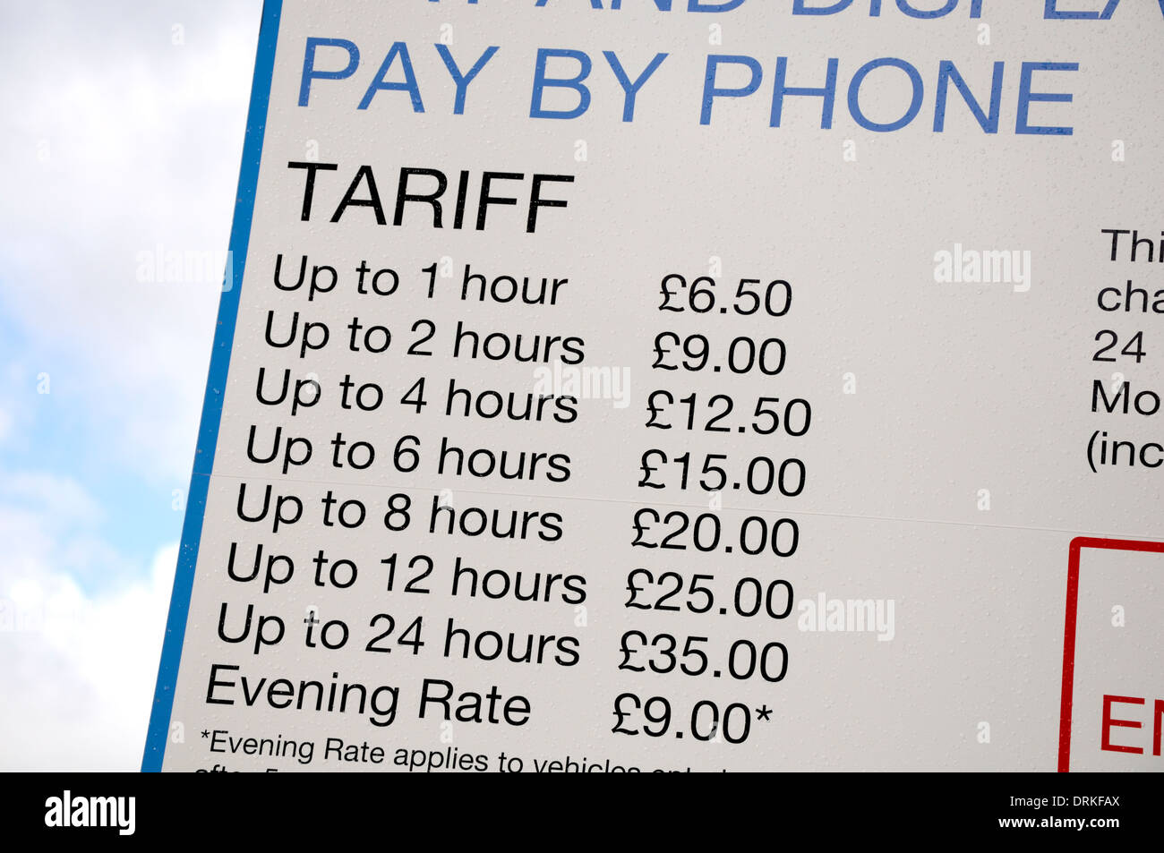 London, England, UK. Car parking charges on the South Bank - Stock Image