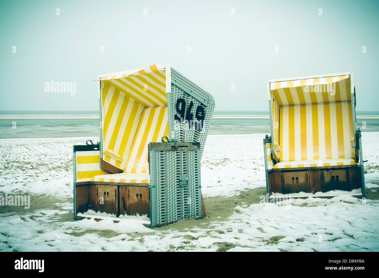 Germany, Lower Saxony, beach chairs at the beach of Langeoog Stock Photo