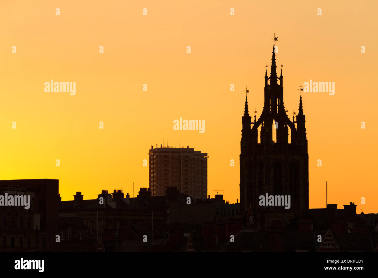 Newcastle upon Tyne buildings at sunset, skyline, England Stock Photo