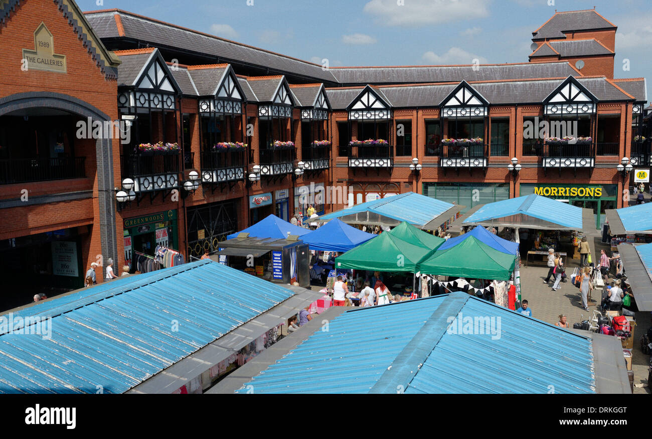 Wigan Market, and the Galleries, form a key part of Wigan Town Centre - Stock Image