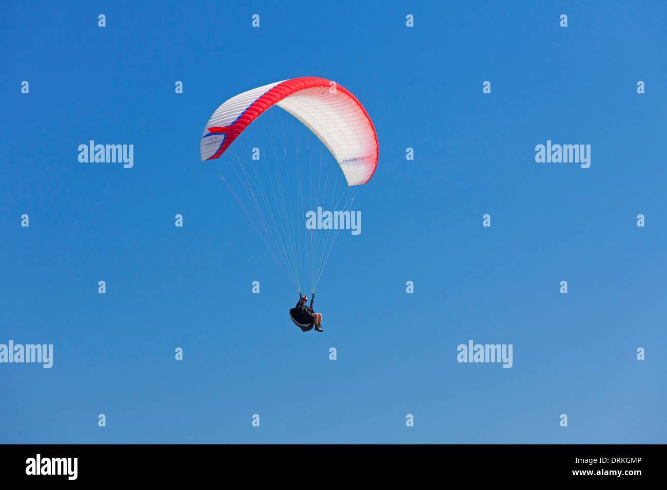 Paraglider in flight with colourful wing / canopy against blue sky Stock Photo