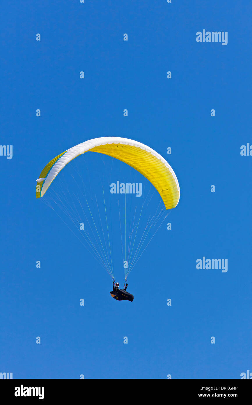 Paraglider in flight with yellow wing / canopy against blue sky Stock Photo