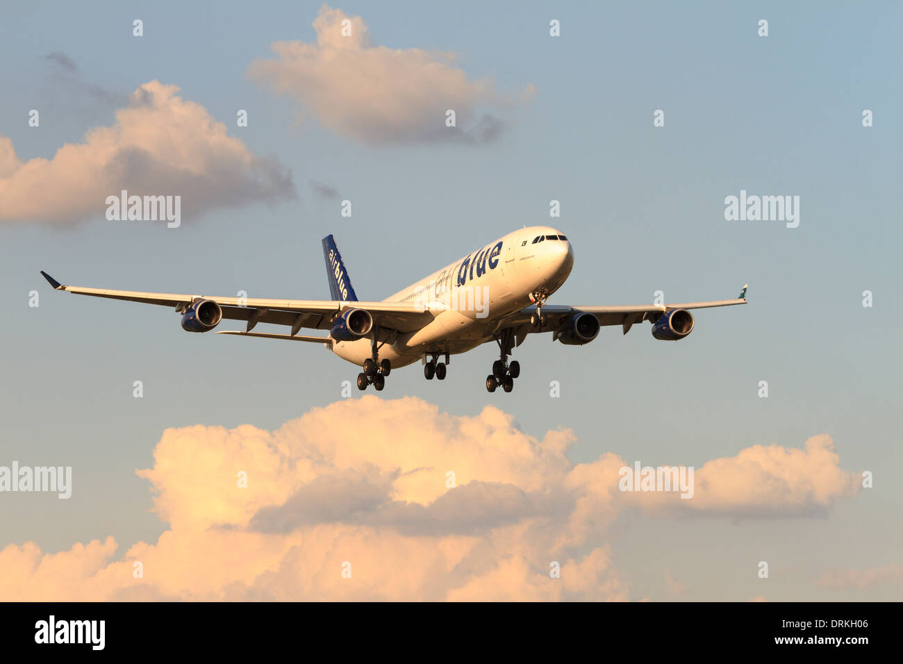 Airblue Airbus A340 plane to land - Stock Image