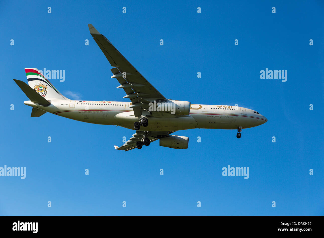 Etihad Airways Airbus A330 to land - Stock Image