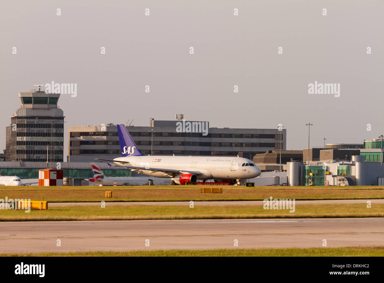 SAS airbus A320 making its way to the runway at Manchester Airport - Stock Image
