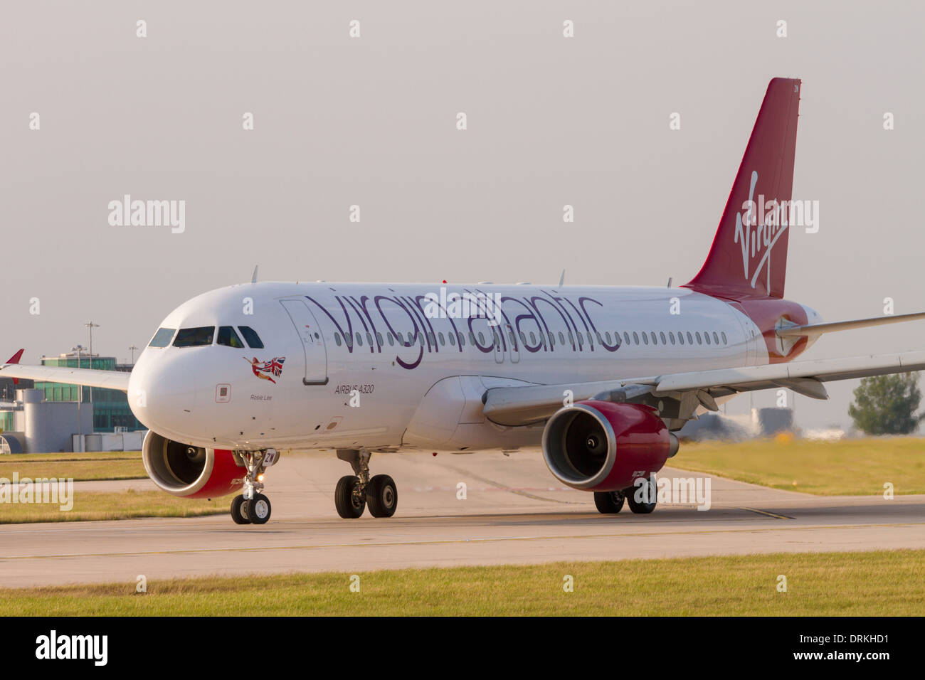 Virgin Atlantic Airbus A320 on runway for take off at Manchester Airport - Stock Image