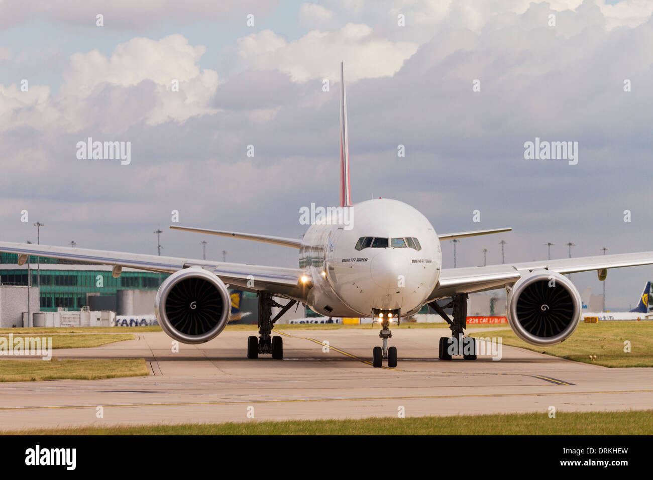 Boeing 777 on runway for take off at Manchester Airport - Stock Image