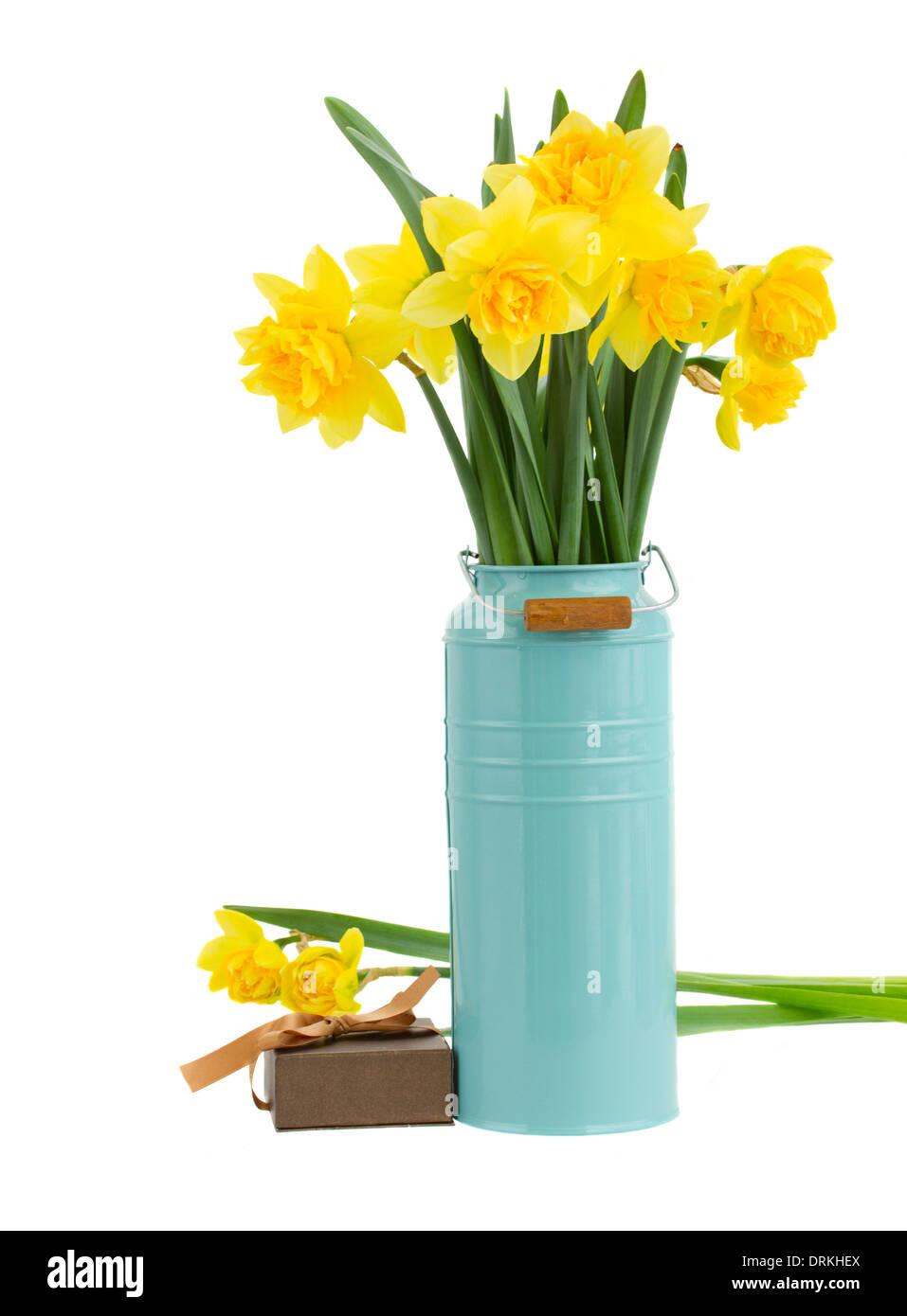 Daffodils In Vase Blue Stock Photos & Daffodils In Vase Blue Stock ...