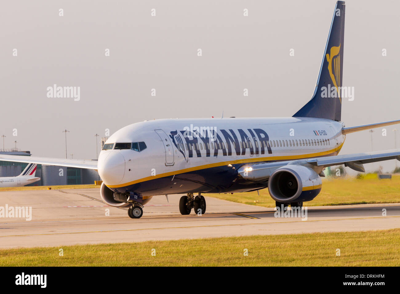 Ryanair Boeing 737 on runway for take off at Manchester Airport - Stock Image