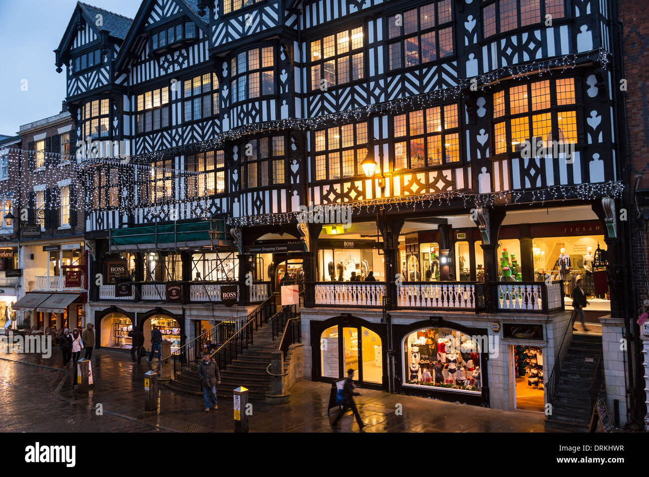 the rows shops at christmas bridge street chester stock photo