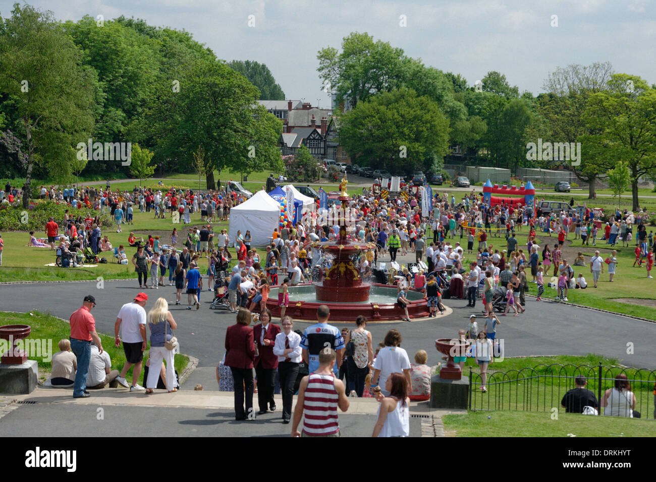 Crowds gather in Mesnes Park, Wigan, for the launch of the Wigan Youth Zone. - Stock Image