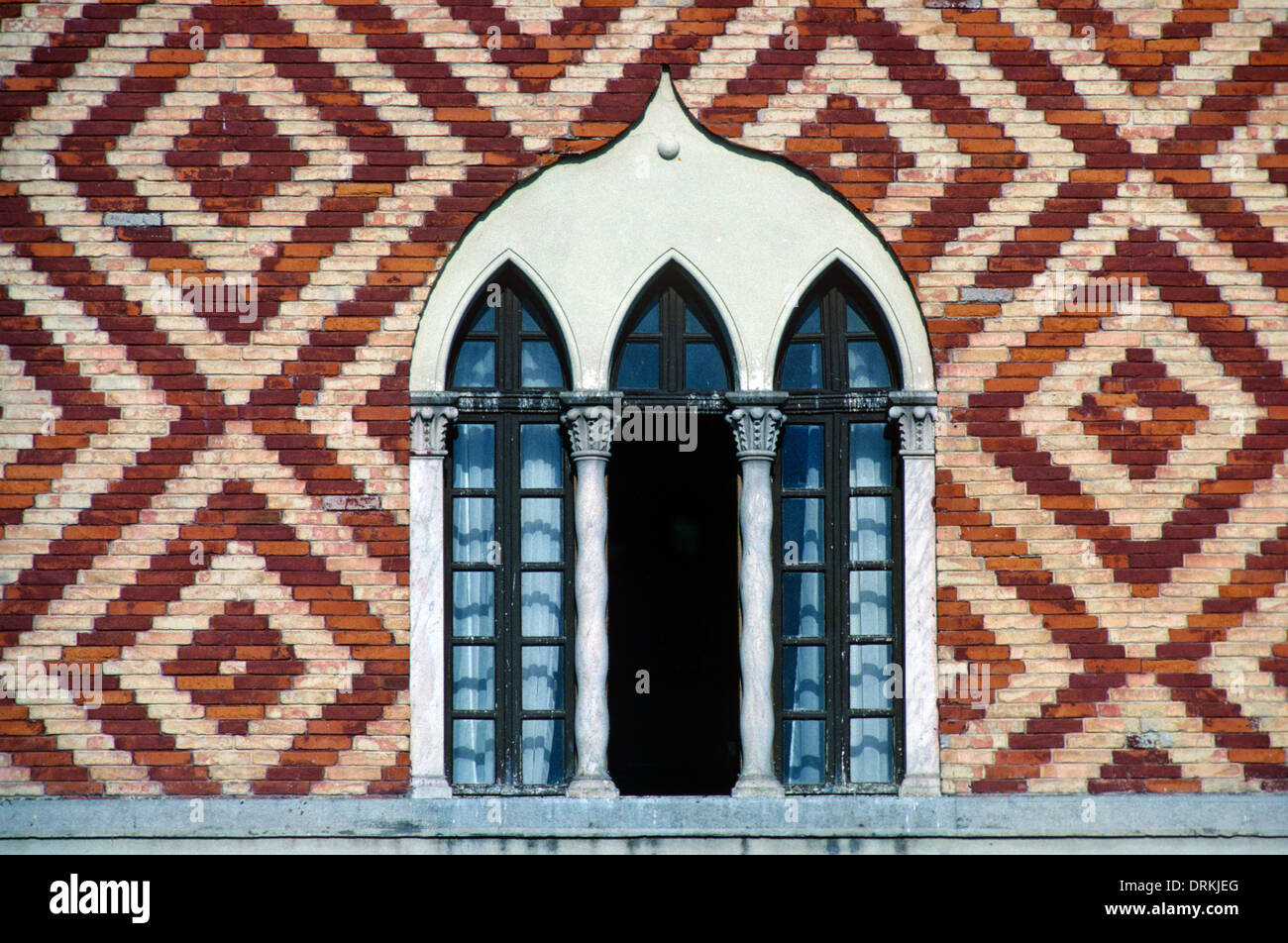 Gothic Window & Patterned Brickwork of Governor's Palace or Palazzo Governale Rhodes Greece - Stock Image