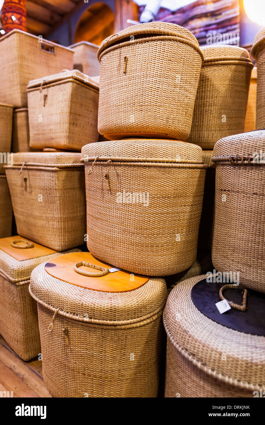 Hand-woven baskets at the Coombs Old Country Market, Coombs, British Columbia, Canada - Stock Image