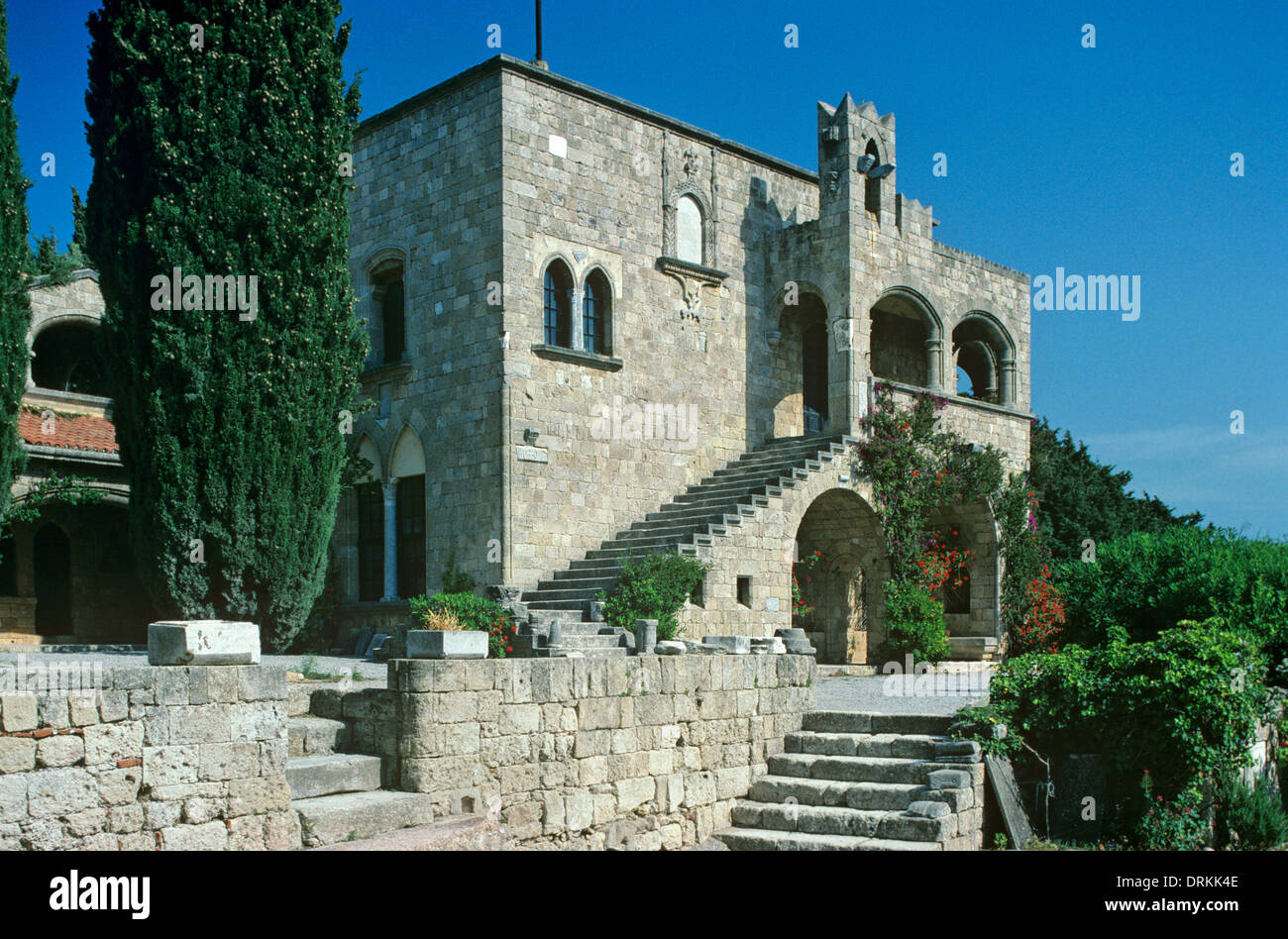 Monastery of Filerimos or Philerimos founded by Knights of Saint John at Ialyssos or Ialysos Rhodes Greece - Stock Image