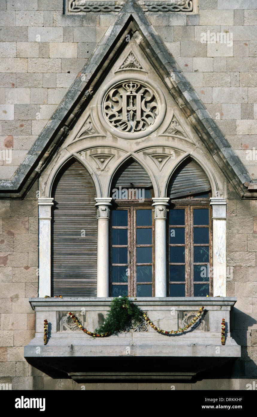 Gothic Window of Governor's Palace or Palazzo Governale Rhodes Greece - Stock Image