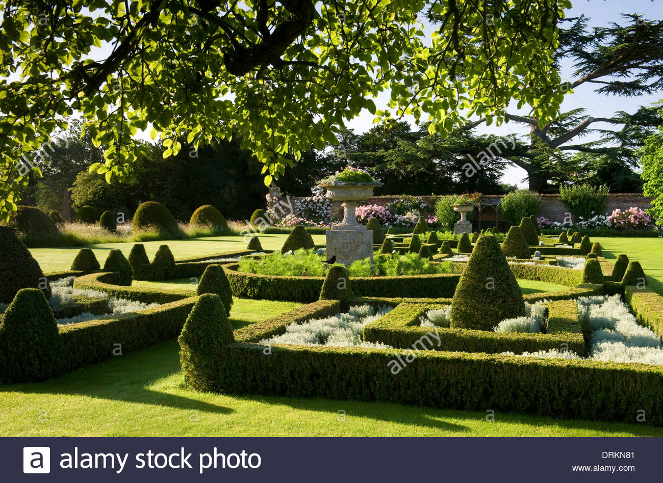 Helmingham Hall Suffolk English Garden Formal Classic Style Parterre Topiary Beautiful Apple Tree Walled Roses Morning Light