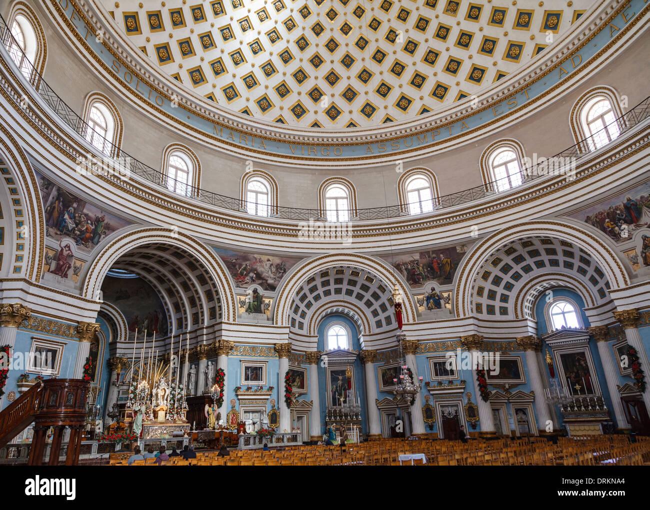 Beneath the Mosta Dome - interior of St Mary's Church, Mosta, Malta Stock Photo