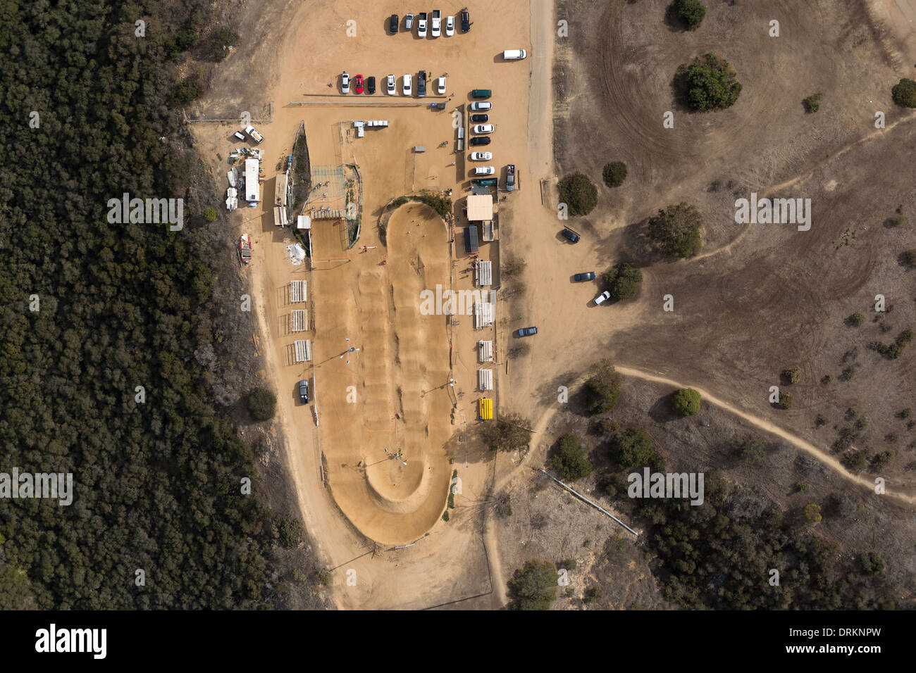 Aerial view of a dirt bike track. - Stock Image