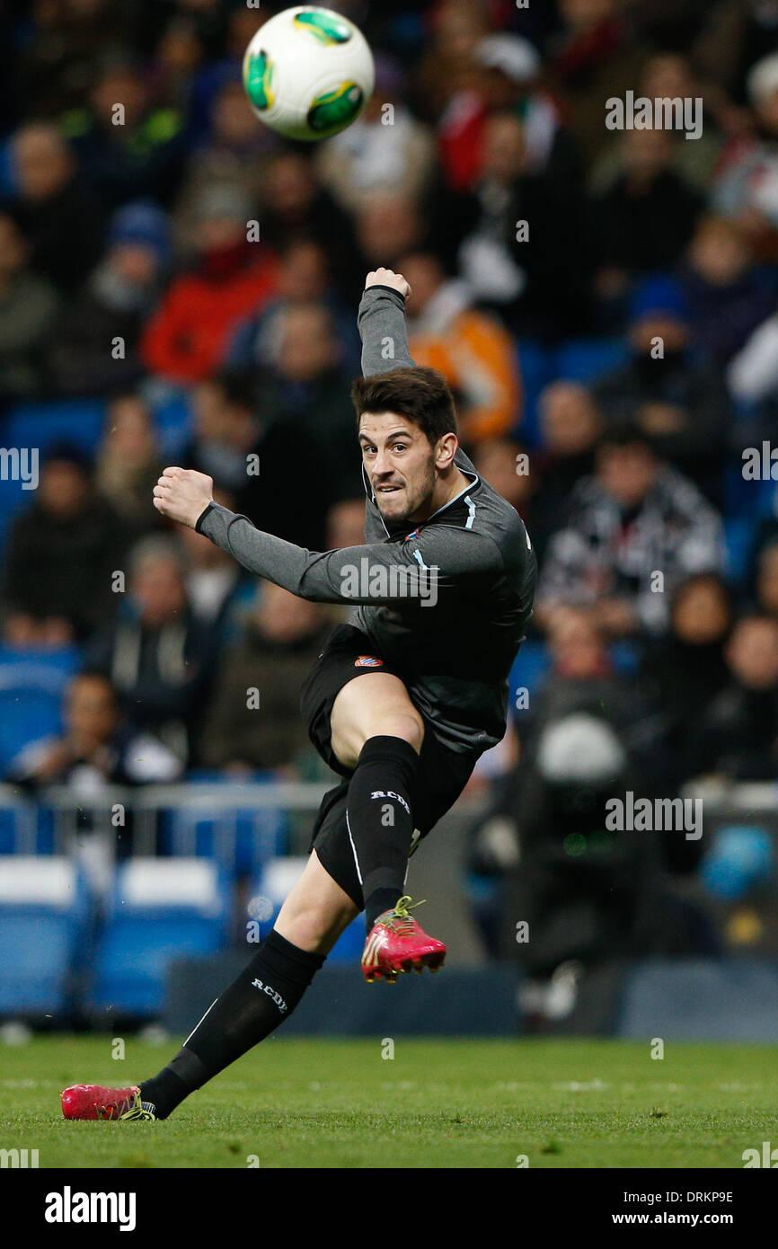 Madrid, Spain. 28th Jan, 2014. Copa del Rey second leg match Real Madrid CF versus RCD Espanyol match at the Santiago Bernabeu Stadium. Pizzi (Midfielder of Espanyol) Credit:  Action Plus Sports Images/Alamy Live News - Stock Image