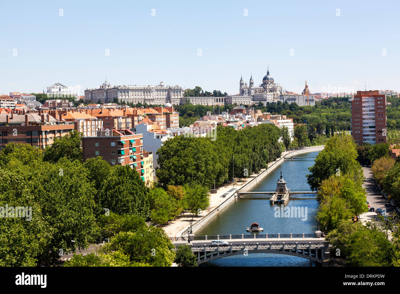 Madrid cityscape with the Manzanares river, La Almudena cathedral and the Royal Palace Stock Photo