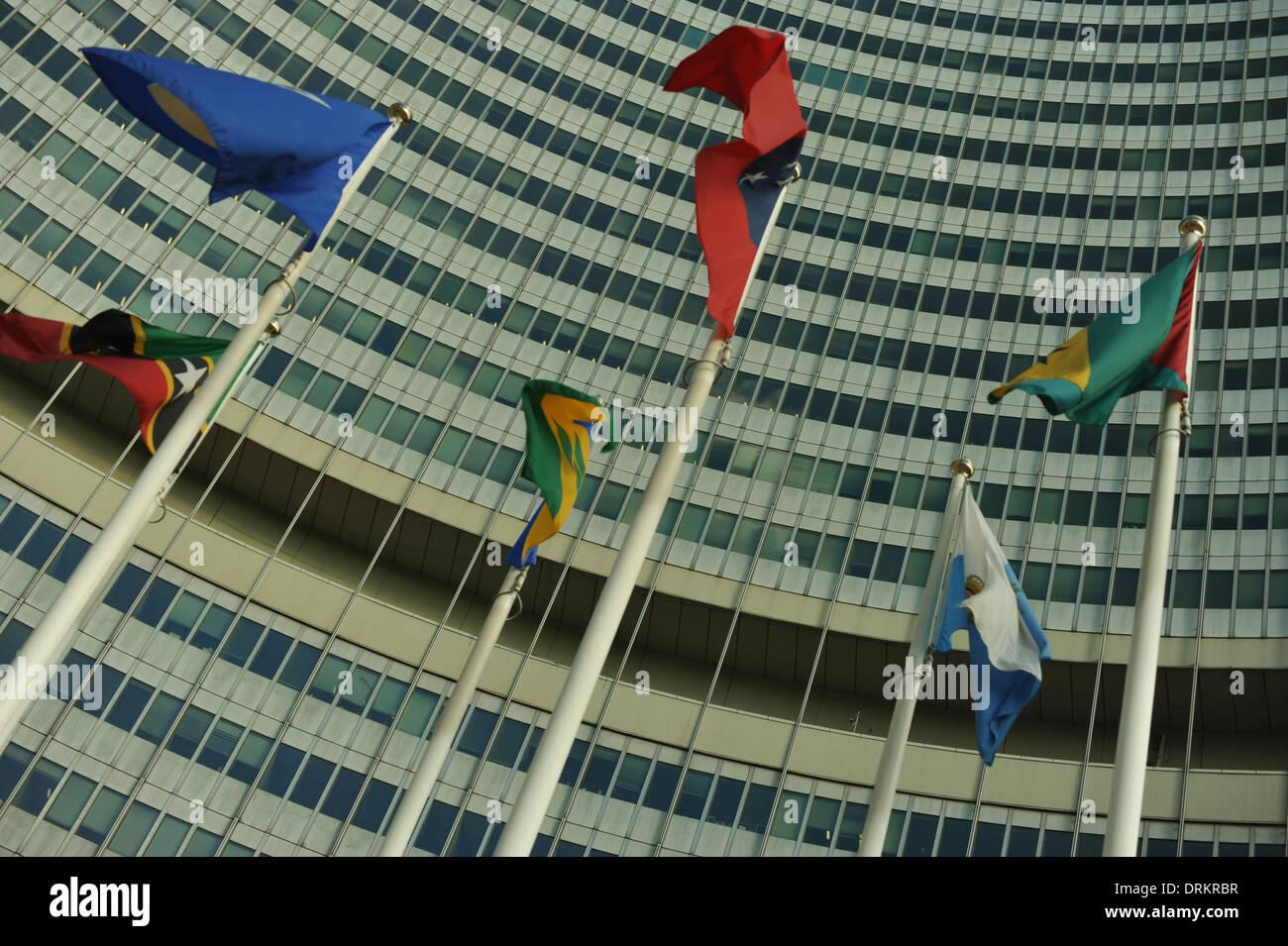 UNO City in der Donaustadt, Wien, Österreich. - Stock Image