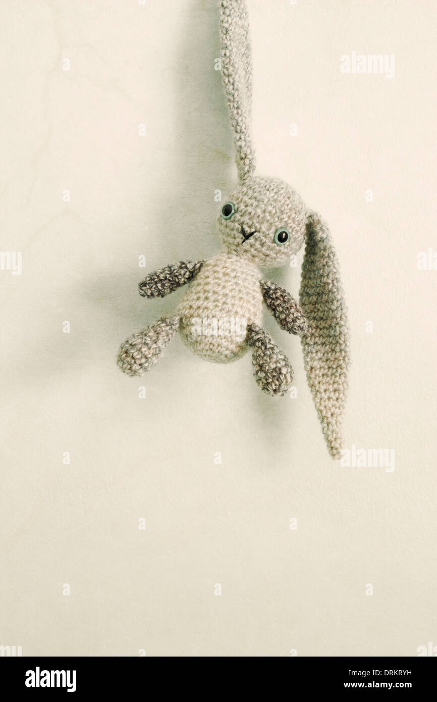 A crocheted toy bunny with long floppy ears hangs from one of those ears. - Stock Image