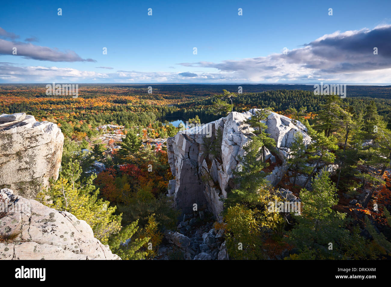 View from 'The Crack' in Killarney Provincial Park, Ontario, Canada. - Stock Image