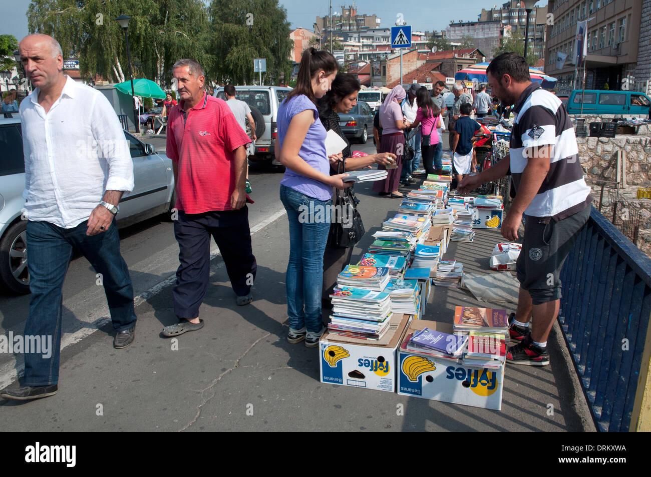 Book seller on the bridge on Raška River, Novi Pazar, Serbia - Stock Image