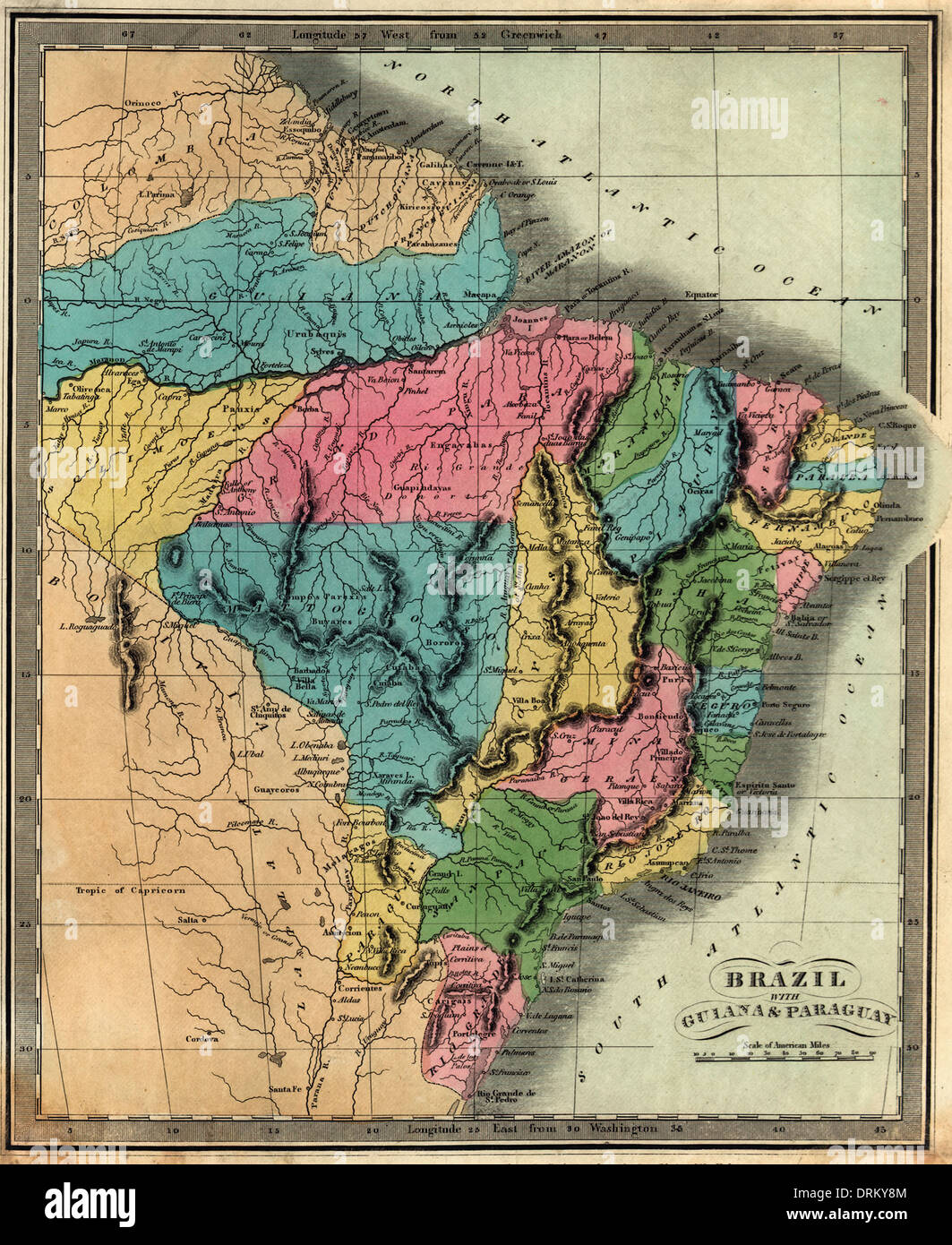 Map of Brazil with Guiana & Paraguay. 1834 - Stock Image