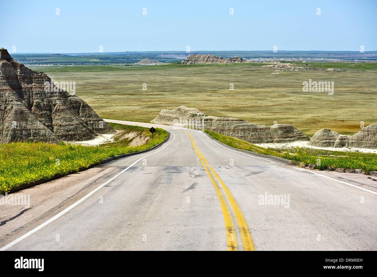 South Dakota Road Near Interior, SD In The Badlands National Park Area. South  Dakota, USA.