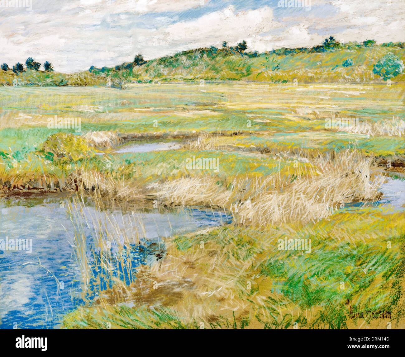 Nicholas Chevalier, The Concord Meadow. Circa 1891. Pastel and gouache on canvas. - Stock Image