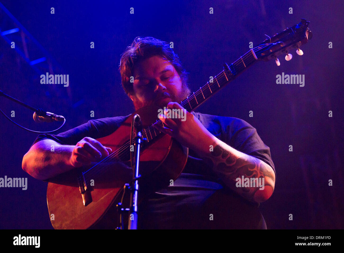 Glasgow, Scotland, UK. 28th January 2014. RM Hubbert, Scottish guitarist and singer, supported Mogwai Concert Hall Glasgow, Celtic Connections 2014. Member Scottish post rock band El Hombre Trajeado, member of the Glaswegian DIY music scene since 1991. Credit:  Pauline Keightley/Alamy Live News - Stock Image