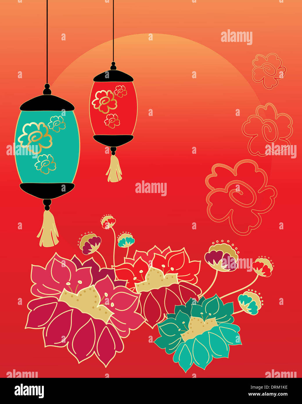 An Illustration Of A Chinese New Year Celebration Greeting Card