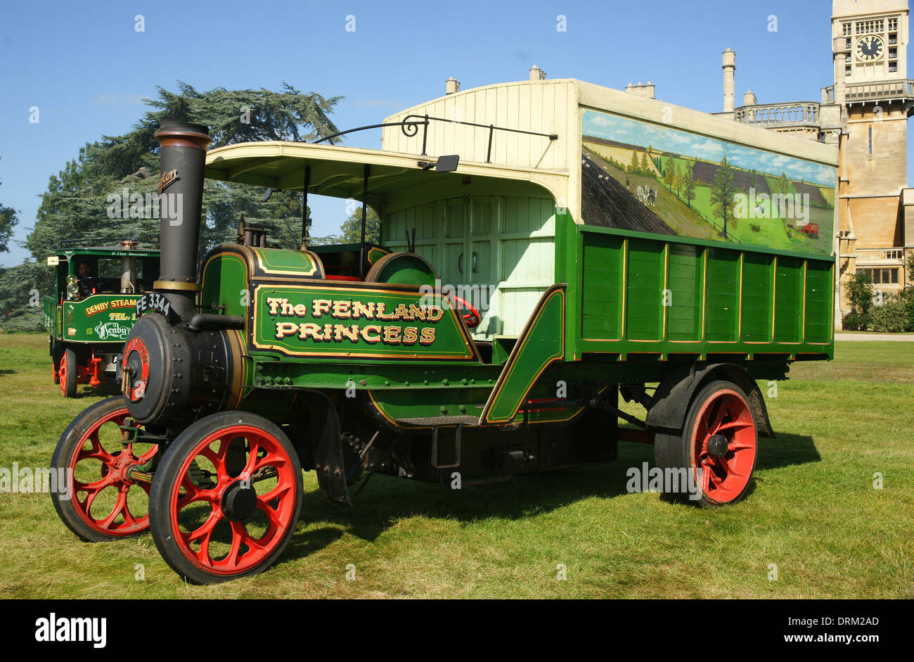 1920 Clayton Steam Lorry 'Fenland Princess' No.48510 FE3344 on display at Shuttleworth Hall during 2012 Bedford Steam Rally - Stock Image