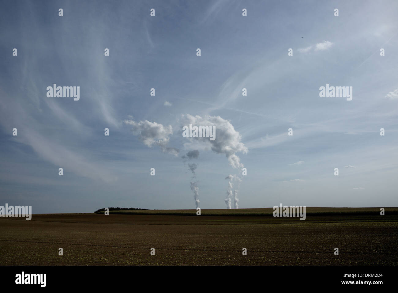 Cattenom Nuclear power station steam and landscape - Stock Image