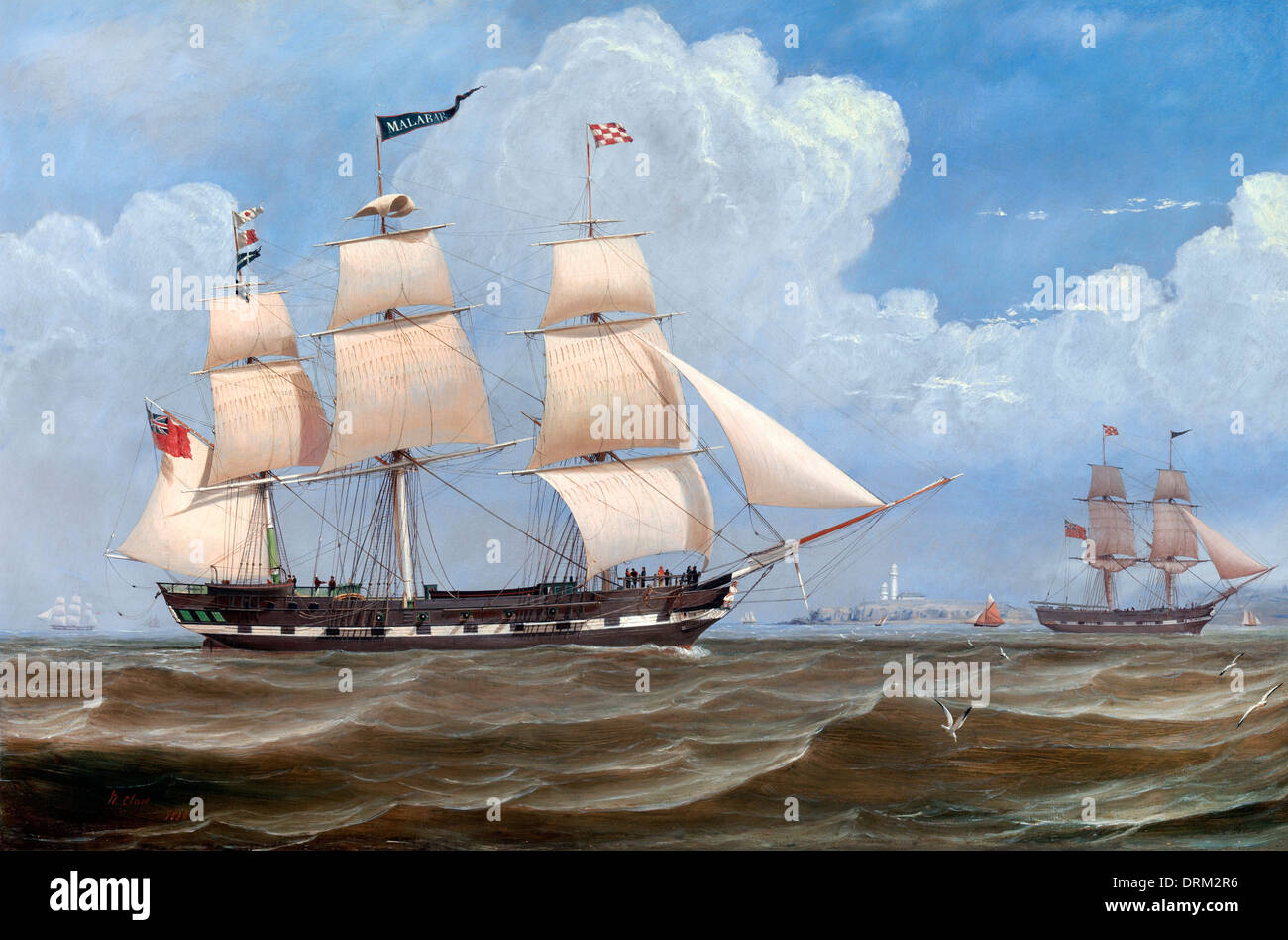 William Clark, The English Merchant Ship 'Malabar' 1836 Oil on canvas. Yale Center for British Art, New Haven, USA. - Stock Image