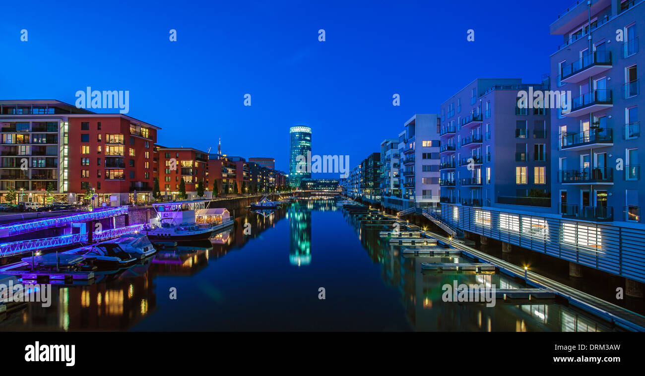 Germany, Frankfurt, Residential buildings at Westhafen Stock Photo