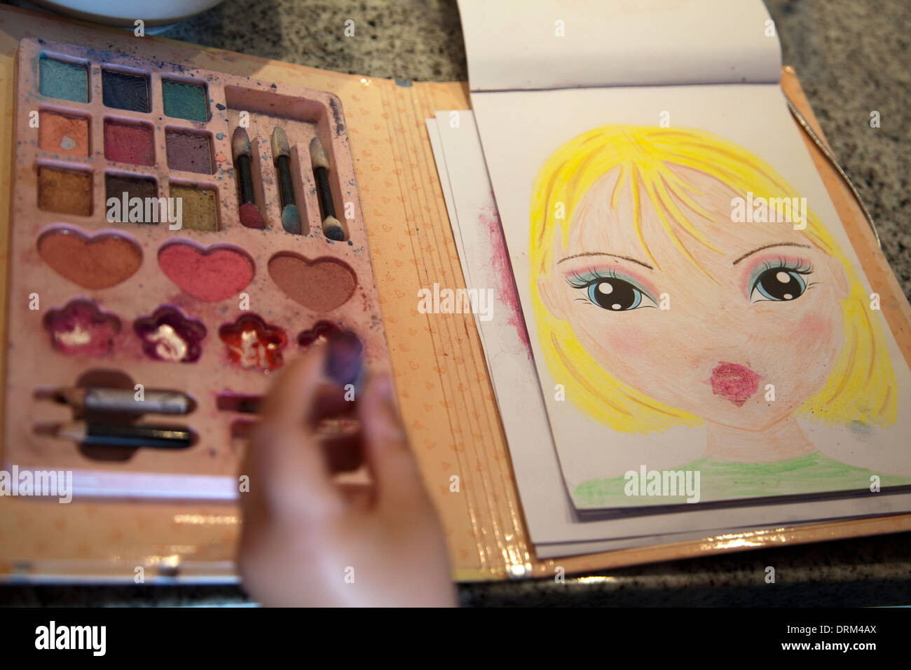 Girl using Make Up Colouring Book Stock Photo: 66210674 - Alamy