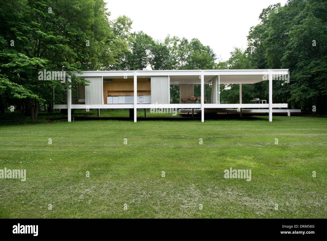 Farnsworth House, Plano, United States. Architect: Ludwig Mies Van Der  Rohe, 1951. General View Of Farnsworth House.