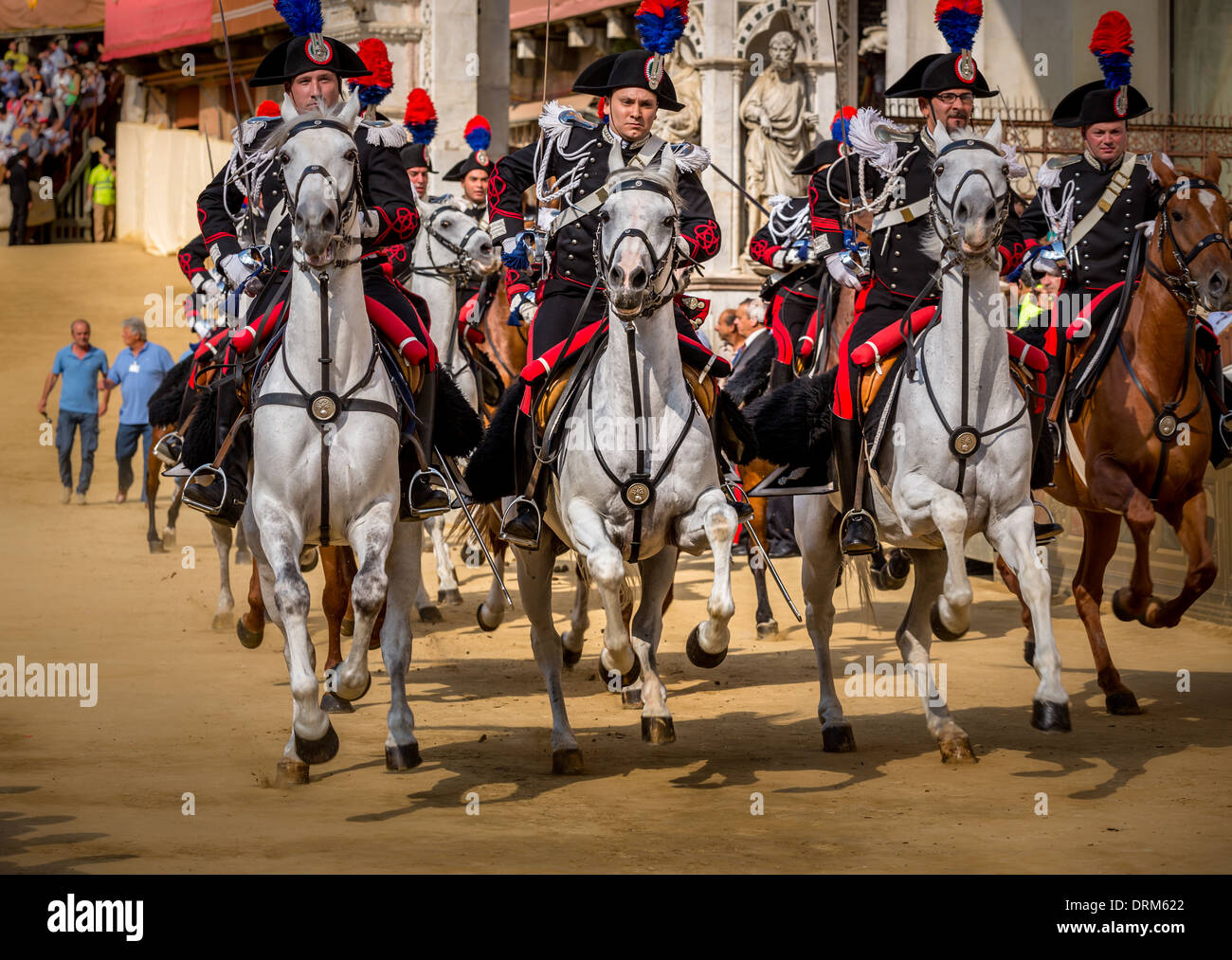 Carabineers,The Palio, Piazza del Campo, Siena, Italy - Stock Image
