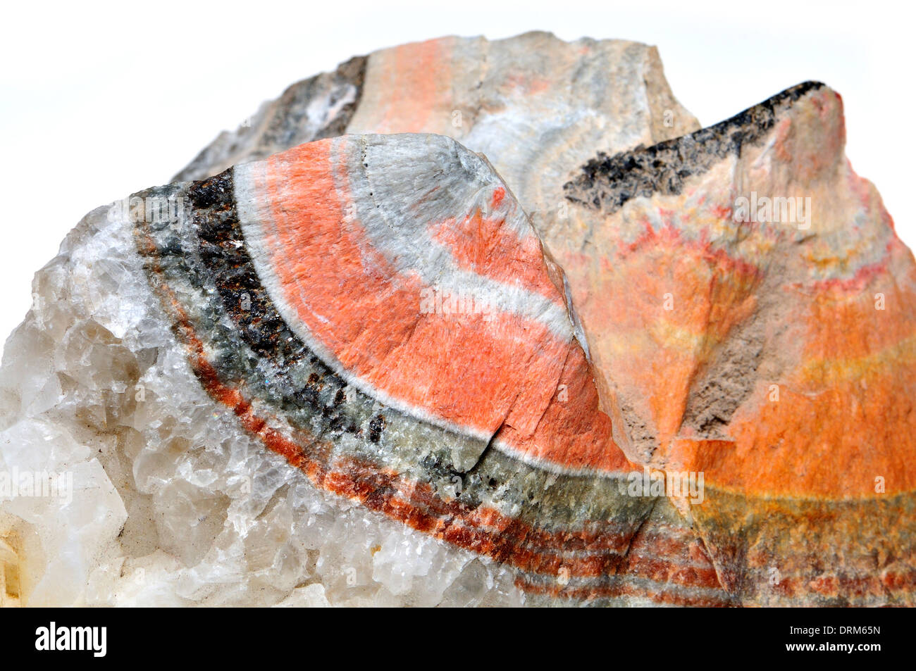 Banded Barian Celestine (strontium sulphate) sphalerite and calcite crystals - Stock Image