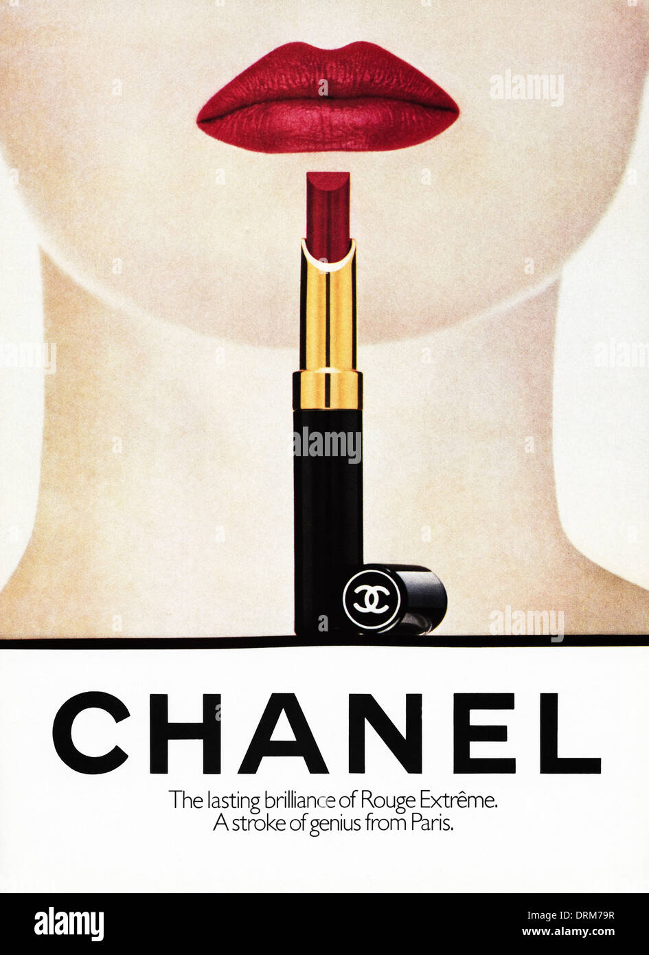 1980s fashion magazine advertisement advertising lipstick by CHANEL, advert circa 1983
