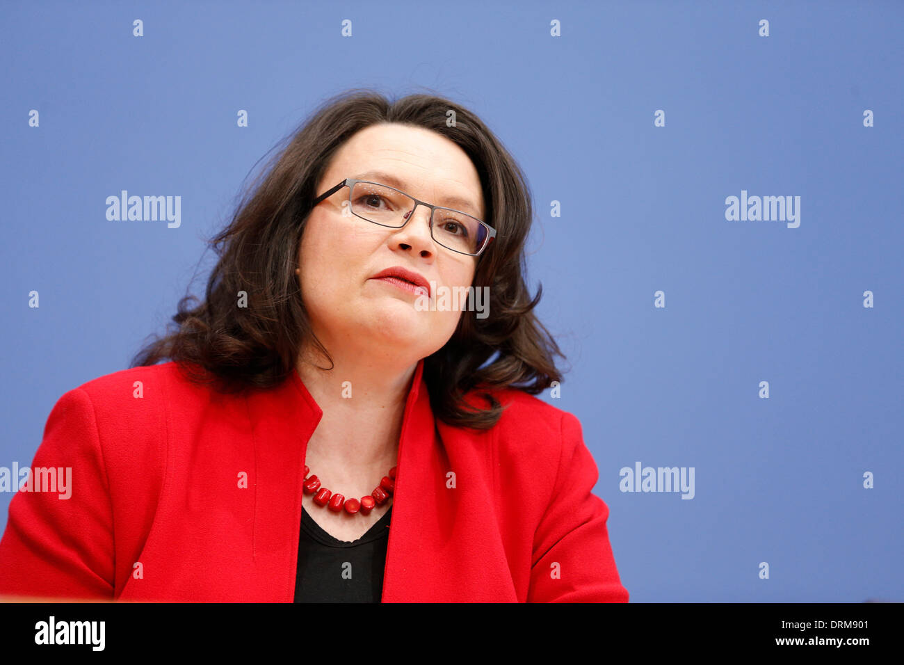 """Berlin, Germany. January 29th, 2014. Andrea Nahles (SPD), Minister of Labour and Social Affairs, talk at the House Federal Press Conference in Berlin on the them """"German pension package of the Federal Government """". / Picture: Andrea Nahles (SPD), Minister of Labour and Social Affairs. Credit:  Reynaldo Chaib Paganelli/Alamy Live News Stock Photo"""