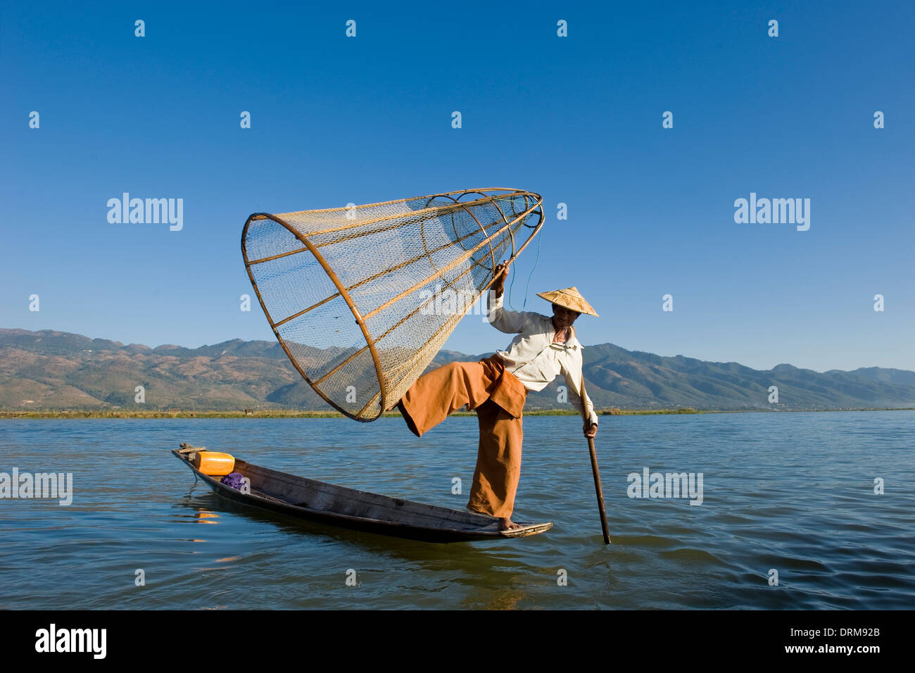 Myanmar, Inle lake, fisherman - Stock Image