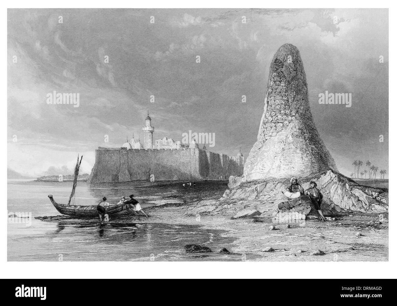 Burj er Roos, or the tower of Skulls.  Island of Jerbeh Tunisia circa 1840 Stock Photo
