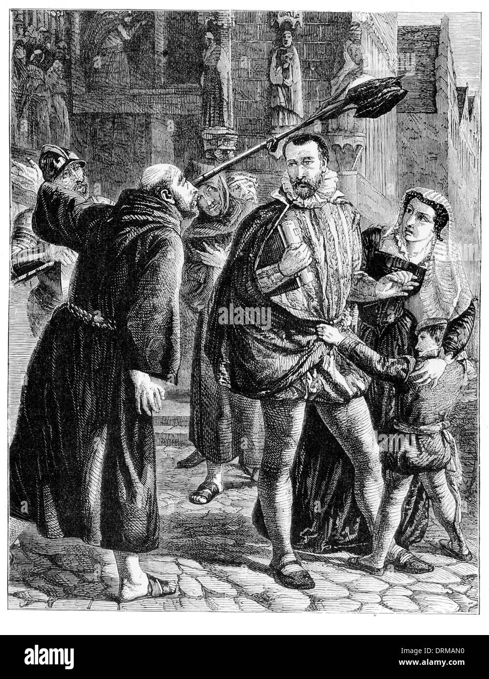 The persecution of the Reformers in Paris 1559 - Stock Image