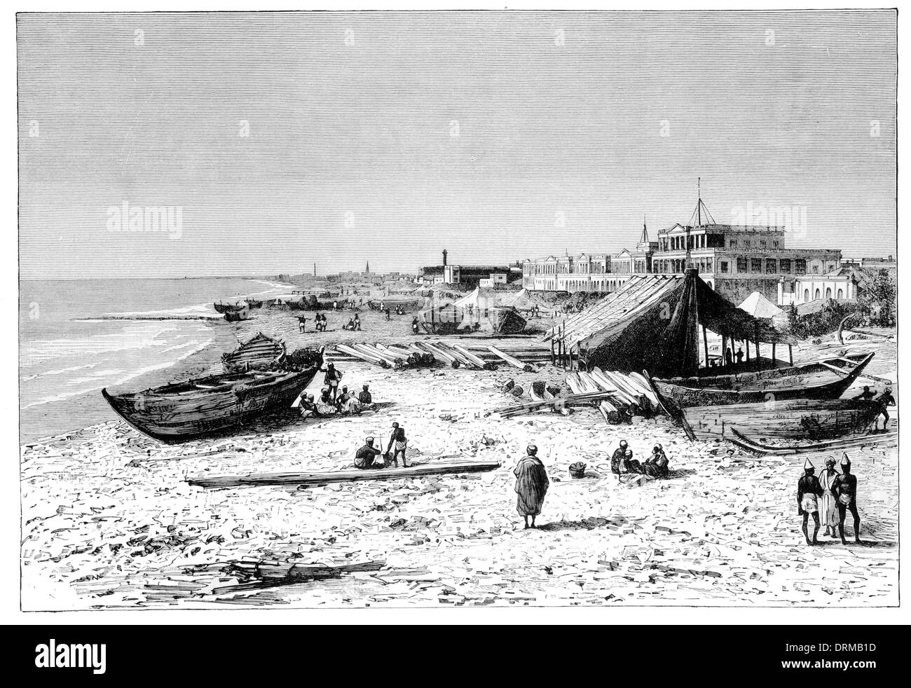 Madras. View taken from the Pier before the construction of the Harbour circa 1880 Stock Photo